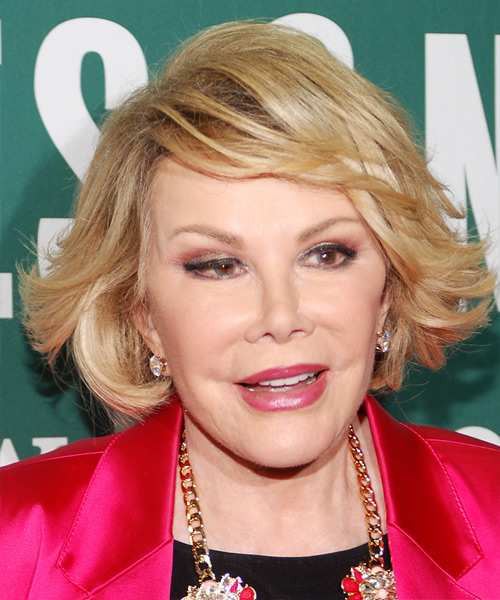 Joan Rivers Short Straight Formal    Hairstyle with Side Swept Bangs  -  Golden Blonde Hair Color