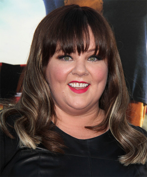 Melissa McCarthy Long Wavy Formal   Hairstyle with Blunt Cut Bangs  - Medium Brunette