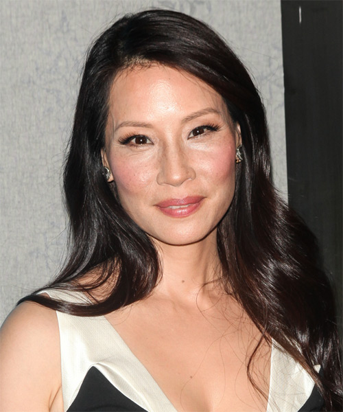 Lucy Liu Long Straight Casual Hairstyle   Dark Brunette Hair Color