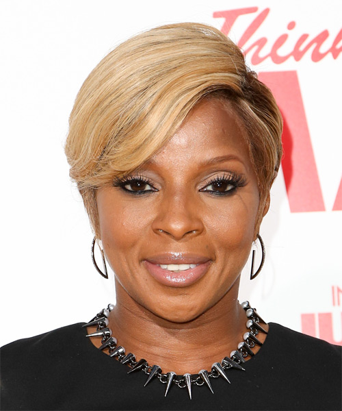 Mary J Blige Short Straight Formal    Hairstyle   -  Blonde Hair Color with Light Blonde Highlights