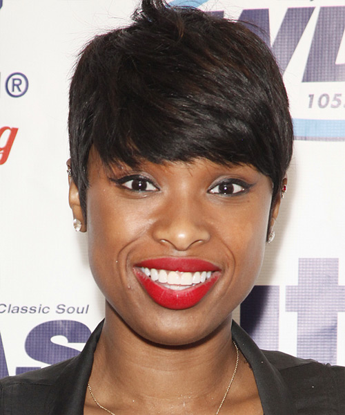 Jennifer Hudson Short Straight Formal    Hairstyle with Side Swept Bangs  - Dark Brunette Hair Color