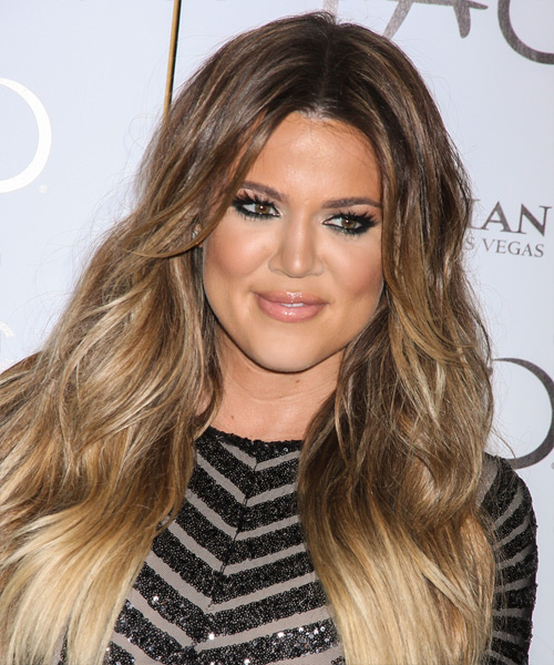 Khloe Kardashian Long Straight Casual    Hairstyle   - Light Brunette Hair Color with  Blonde Highlights