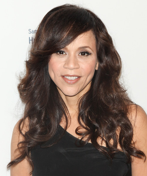 Rosie Perez Long Wavy Casual   Hairstyle with Side Swept Bangs  - Medium Brunette (Chocolate)