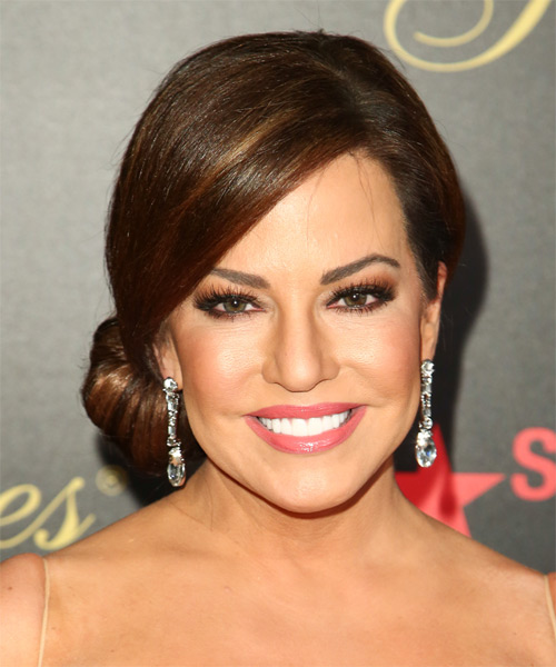 Robin Meade Updo Long Straight Formal Wedding Updo Hairstyle   - Medium Brunette