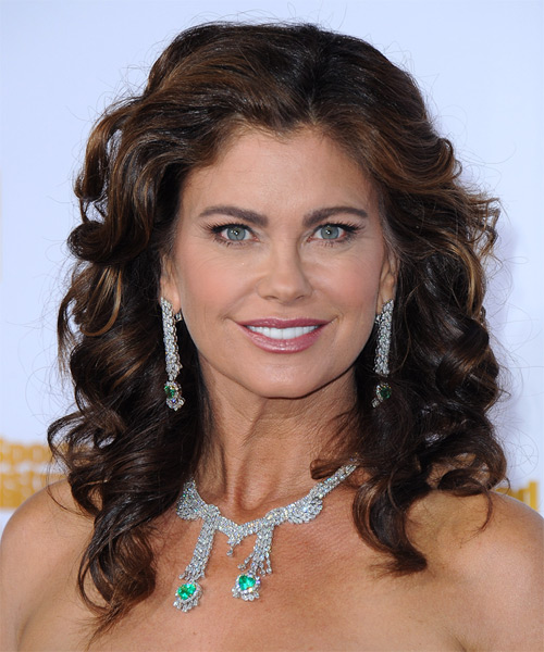 Kathy Ireland Long Curly Formal   Hairstyle   - Dark Brunette