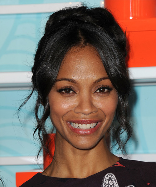 Zoe Saldana Long Curly Formal Updo Hairstyle Black Hair