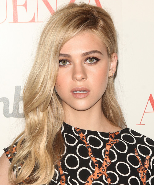 Nicola Peltz  Long Straight Casual   Half Up Hairstyle   - Light Blonde Hair Color