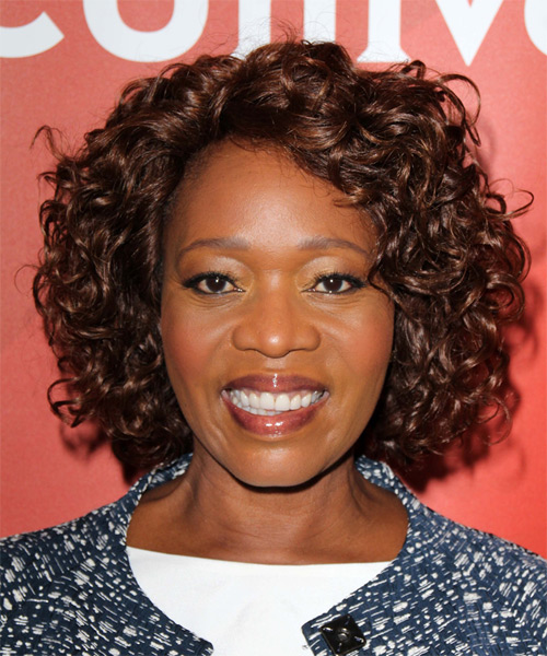 Alfre Woodard Medium Curly Casual    Hairstyle   -  Mocha Brunette Hair Color