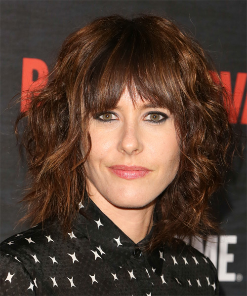 Katherine Moennig Medium Wavy Casual    Hairstyle with Layered Bangs  -  Brunette Hair Color