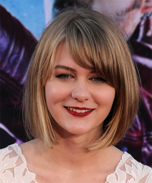 Ryan Simpkins Medium Straight Dark Blonde Bob Hairstyle with Side Swept Bangs