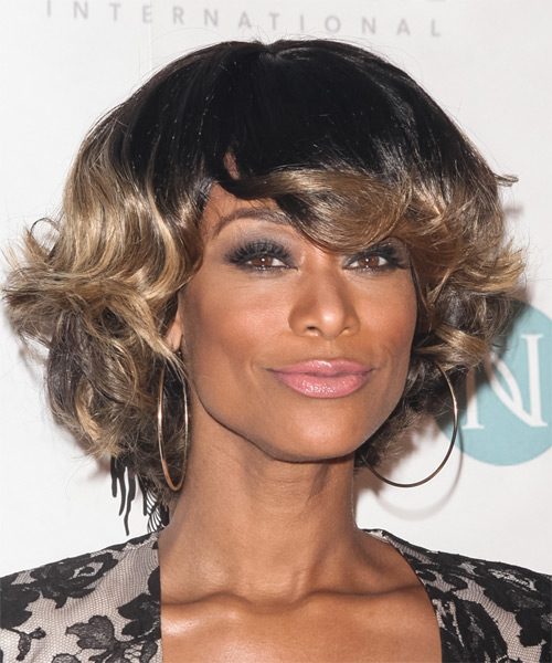Kelly Price Short Wavy Formal    Hairstyle   - Black  and Dark Blonde Two-Tone Hair Color