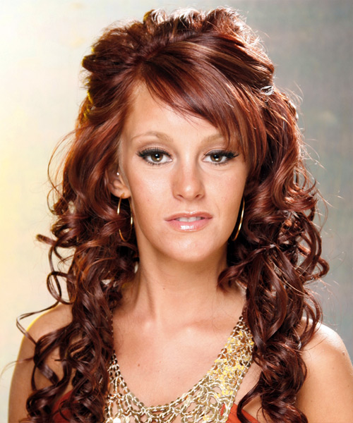 Long Curly Formal   Half Up Hairstyle   - Medium Mahogany Red Hair Color