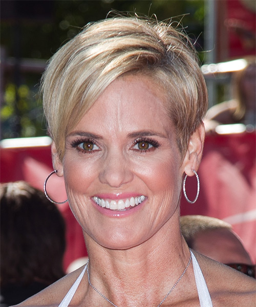 Dara Torres Short Straight Formal    Hairstyle   -  Blonde Hair Color with Light Blonde Highlights