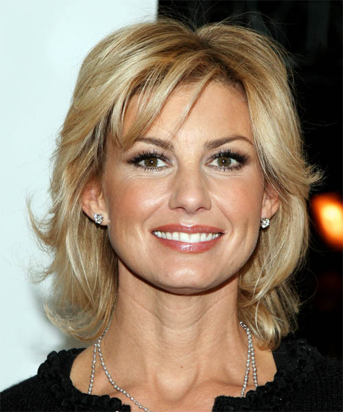 Faith Hill Medium Straight Casual   Hairstyle