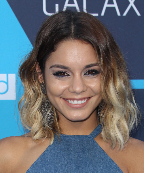 Vanessa Hudgens Medium Wavy Casual    Hairstyle   -  Chocolate Brunette and Light Blonde Two-Tone Hair Color