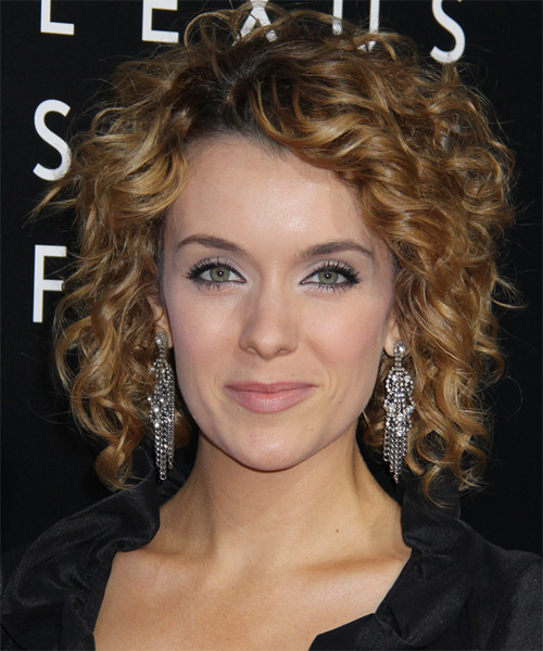 Ashlynn Yennie Medium Curly Casual   Hairstyle   - Dark Blonde