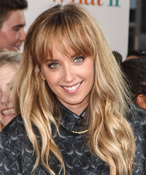 layered haircut megan park wavy casual hairstyle with blunt cut bangs 9806
