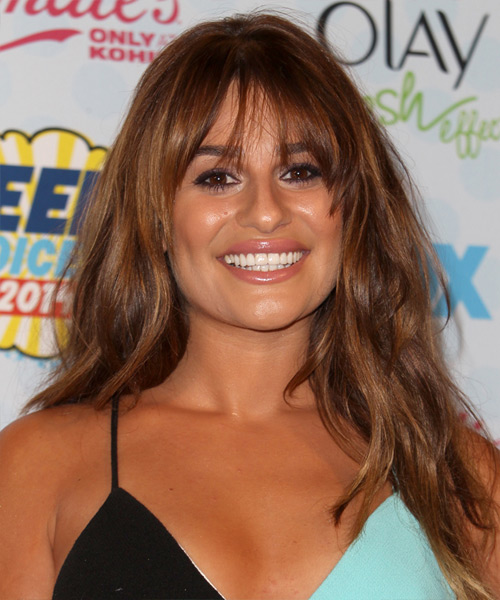 Lea Michele Long Straight Casual    Hairstyle with Layered Bangs  - Auburn Hair Color