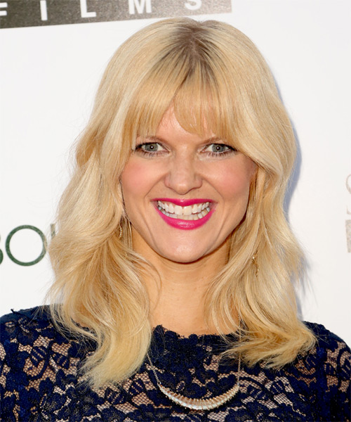 Arden Myrin Long Wavy Casual    Hairstyle with Blunt Cut Bangs  -  Golden Blonde Hair Color