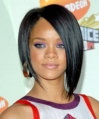 Rihanna Medium Straight Alternative  Asymmetrical  Hairstyle   - Black  Hair Color