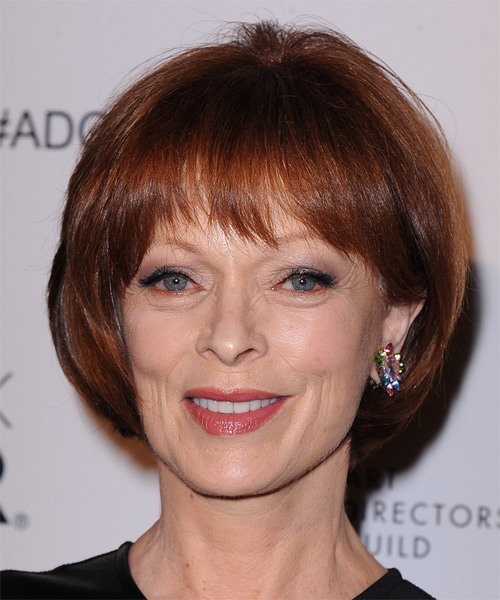 Frances Fisher Short Straight Formal   Hairstyle with Layered Bangs  - Dark Red