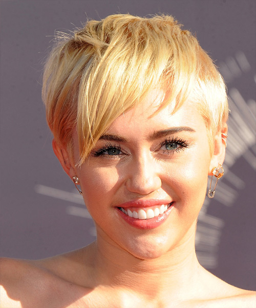 Miley Cyrus Short Straight Casual    Hairstyle   -  Honey Blonde Hair Color