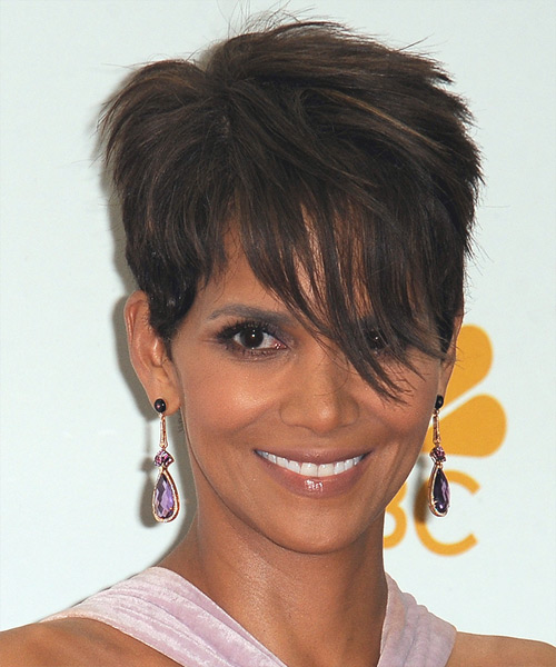 Halle Berry Short Straight Casual    Hairstyle with Side Swept Bangs  - Dark Brunette Hair Color