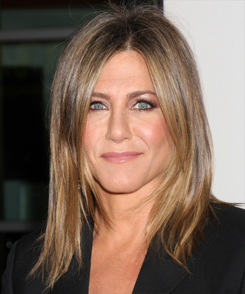 Jennifer Aniston Medium Straight    Caramel Brunette   Hairstyle   with Dark Blonde Highlights