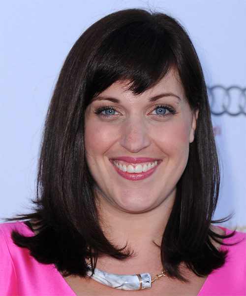 Allison Tolman Medium Straight Formal   Hairstyle with Side Swept Bangs  - Dark Brunette