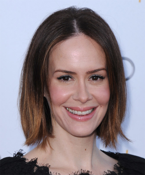 Sarah Paulson Medium Straight Casual  Bob  Hairstyle   - Dark Brunette Hair Color