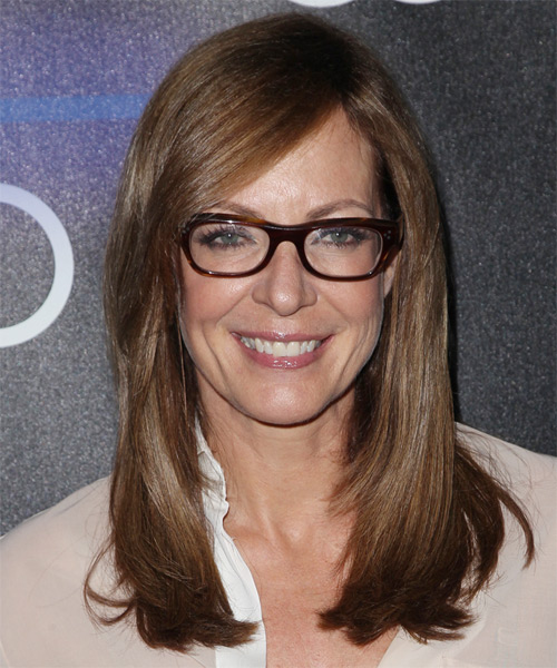 Allison Janney Long Straight    Chocolate Brunette   Hairstyle with Side Swept Bangs