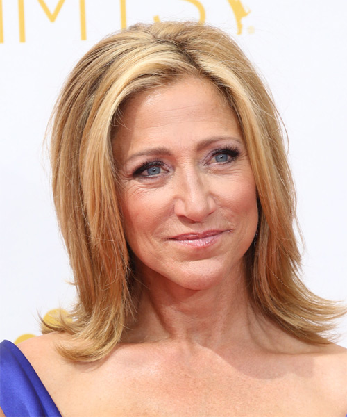 Edie Falco Medium Straight    Copper Blonde   Hairstyle   with Light Blonde Highlights