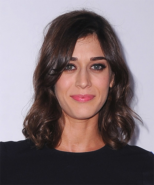 Lizzy Caplan Medium Wavy Casual    Hairstyle   - Dark Mocha Brunette Hair Color