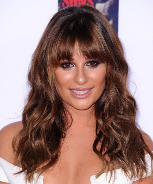 Lea Michele Long Wavy Casual    Hairstyle with Blunt Cut Bangs  -  Mahogany Brunette Hair Color