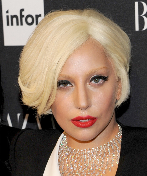 Lady Gaga Short Straight Formal   Hairstyle   - Light Blonde