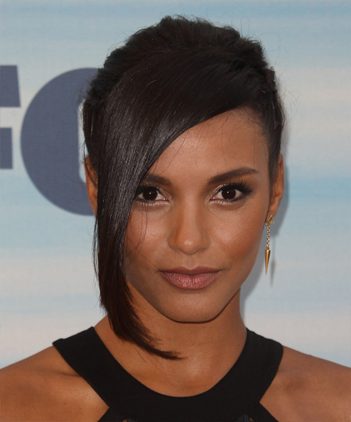 Jessica Lucas Updo Long Straight Formal Wedding Updo Hairstyle with Side Swept Bangs  - Dark Brunette