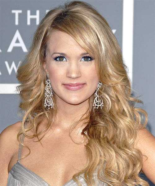 Carrie Underwood Long Wavy Formal    Hairstyle   -  Bright Blonde Hair Color