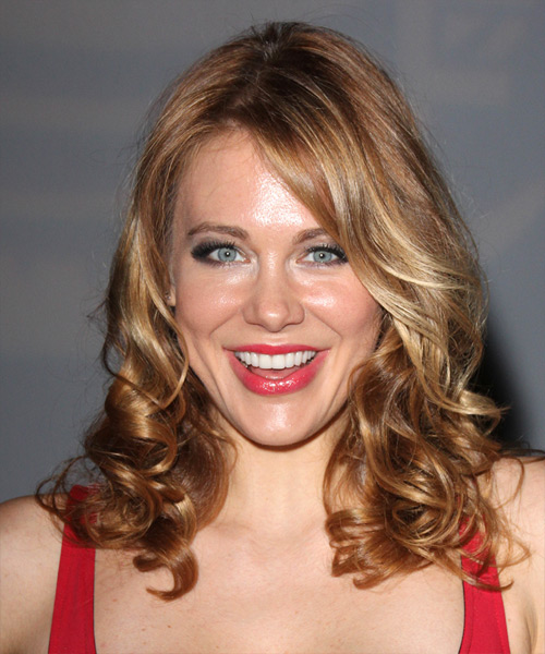 Maitland Ward Long Wavy   Light Copper Brunette   Hairstyle   with Dark Blonde Highlights