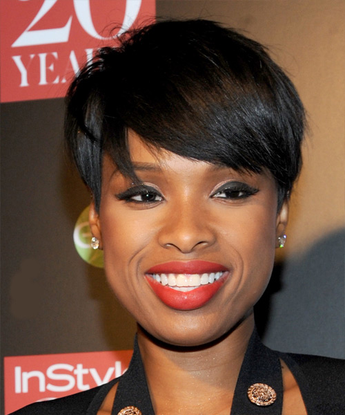 Jennifer Hudson Short Straight Formal   Hairstyle with Side Swept Bangs  - Black