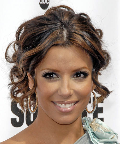 Eva Longoria Parker  Long Curly Formal   Updo Hairstyle   - Dark Brunette Hair Color