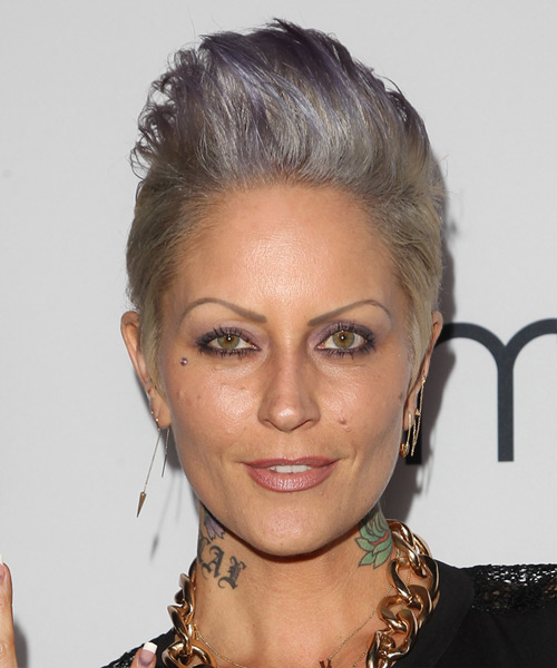 Mandy Lyons Short Straight Casual    Hairstyle   - Purple Grey  Hair Color