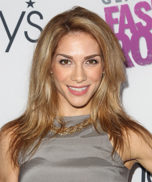 Allison Holker Long Straight   Dark Copper Blonde   Hairstyle   with Light Blonde Highlights