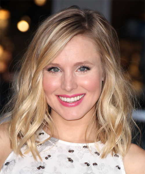 Kristen Bell Medium Wavy Casual   Hairstyle   - Light Blonde