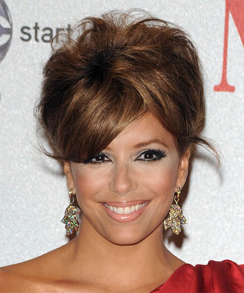 Eva Longoria Parker  Long Straight    Caramel Brunette  Updo  with Side Swept Bangs