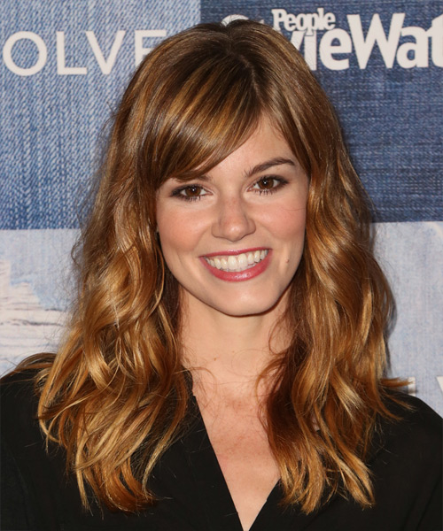 Rachel Melvin Long Wavy Casual    Hairstyle with Side Swept Bangs  -  Copper Red Hair Color