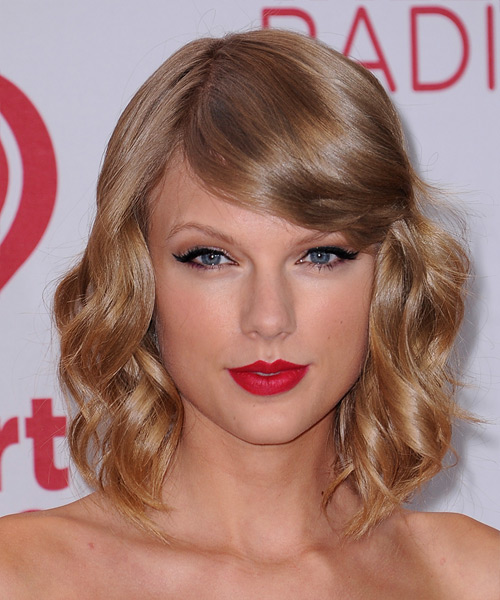 Taylor Swift Medium Wavy Formal    Hairstyle with Side Swept Bangs  - Dark Copper Blonde Hair Color