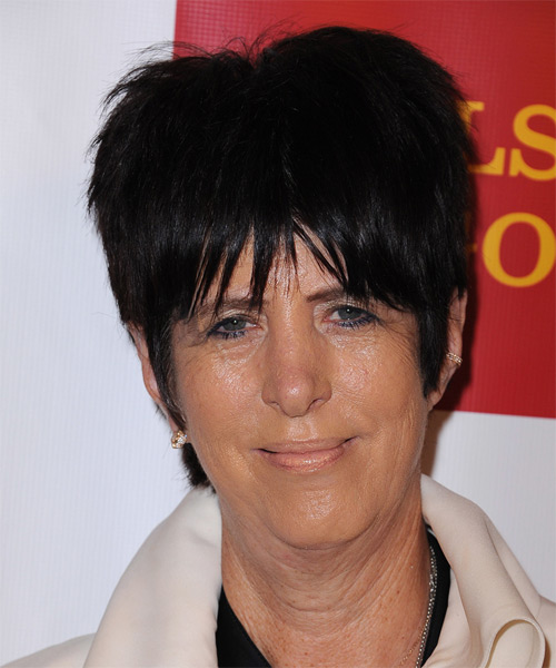 Diane Warren Short Straight     Hairstyle with Layered Bangs