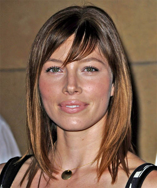 Jessica Biel Long Straight Casual   Hairstyle with Side Swept Bangs  - Medium Brunette (Chocolate)