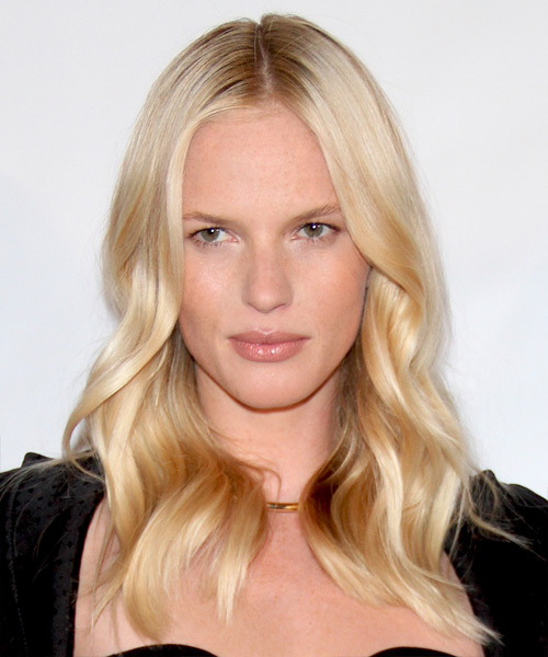 Anne Vyalitsyna Long Wavy Casual    Hairstyle   - Light Golden Blonde Hair Color