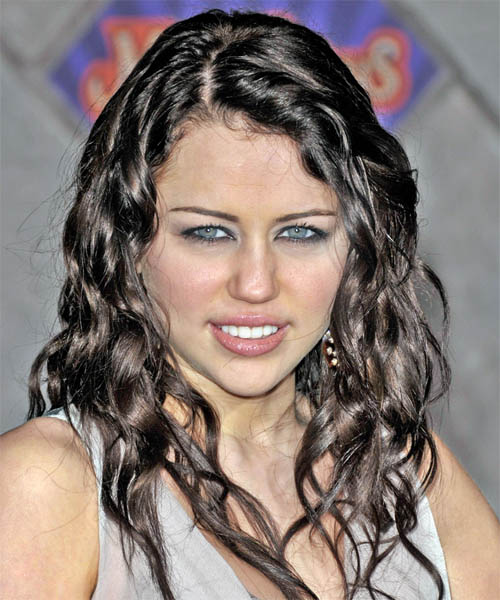 Miley Cyrus Long Curly Casual Hairstyle Black Hair Color